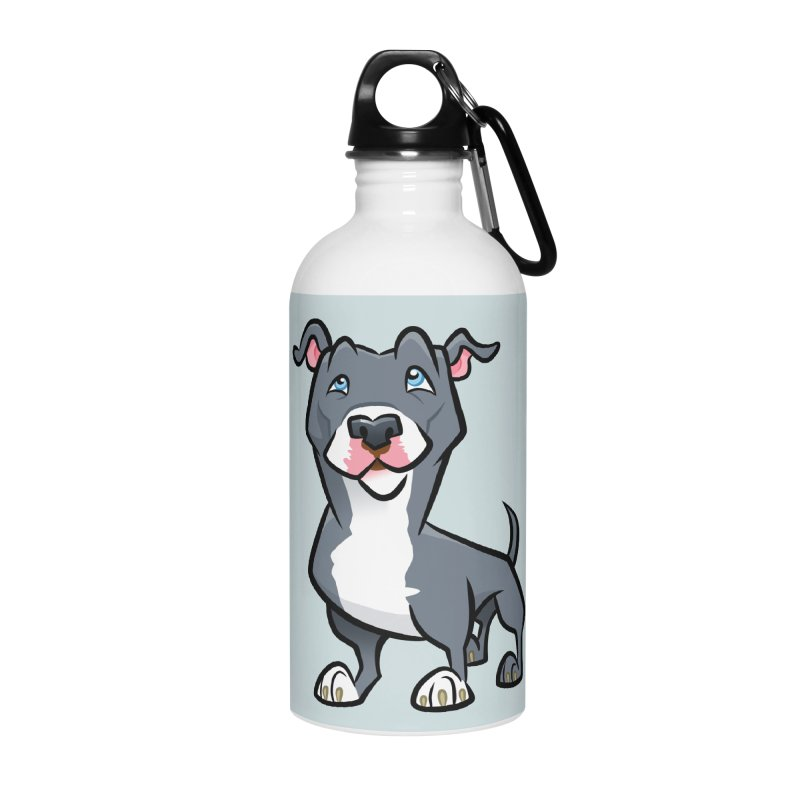 Blue Pit Bull Accessories Water Bottle by binarygod's Artist Shop