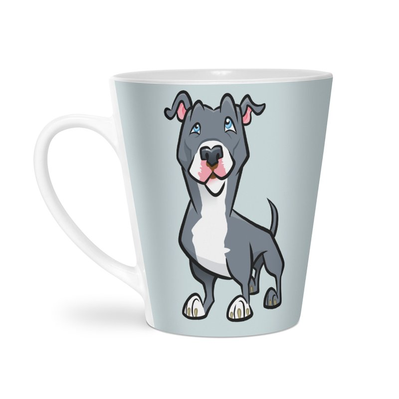 Blue Pit Bull Accessories Latte Mug by binarygod's Artist Shop