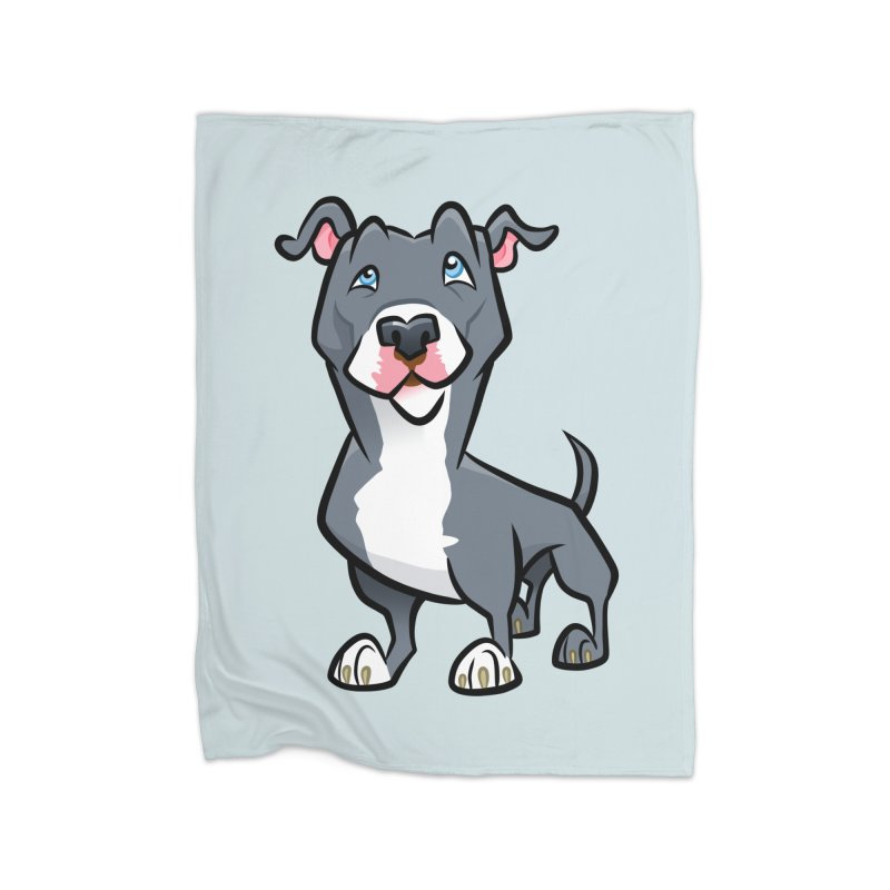 Blue Pit Bull Home Fleece Blanket Blanket by binarygod's Artist Shop