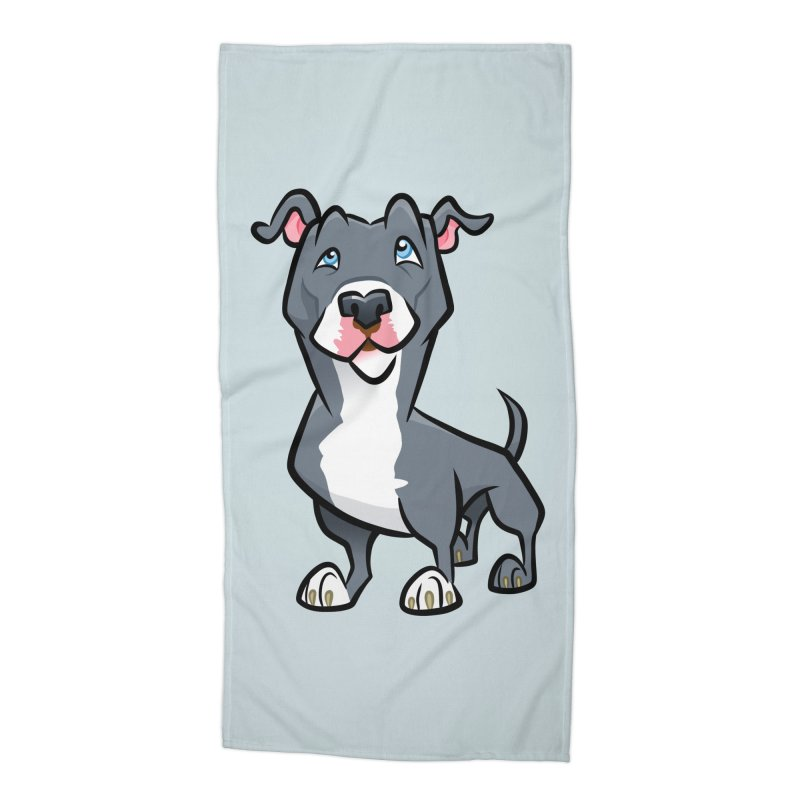 Blue Pit Bull Accessories Beach Towel by binarygod's Artist Shop