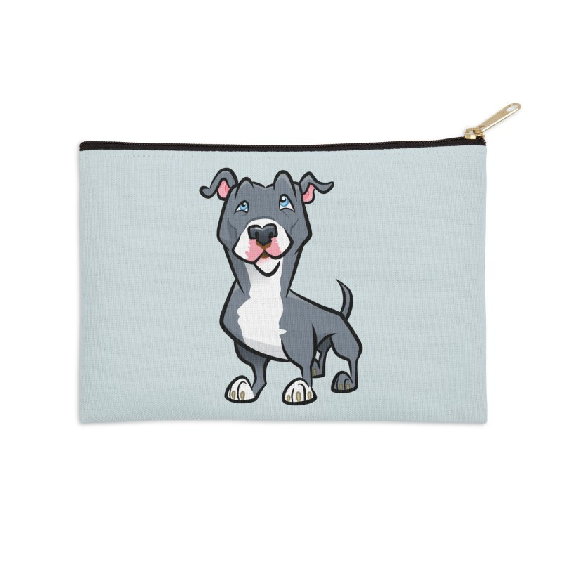 Blue Pit Bull Accessories Zip Pouch by binarygod's Artist Shop
