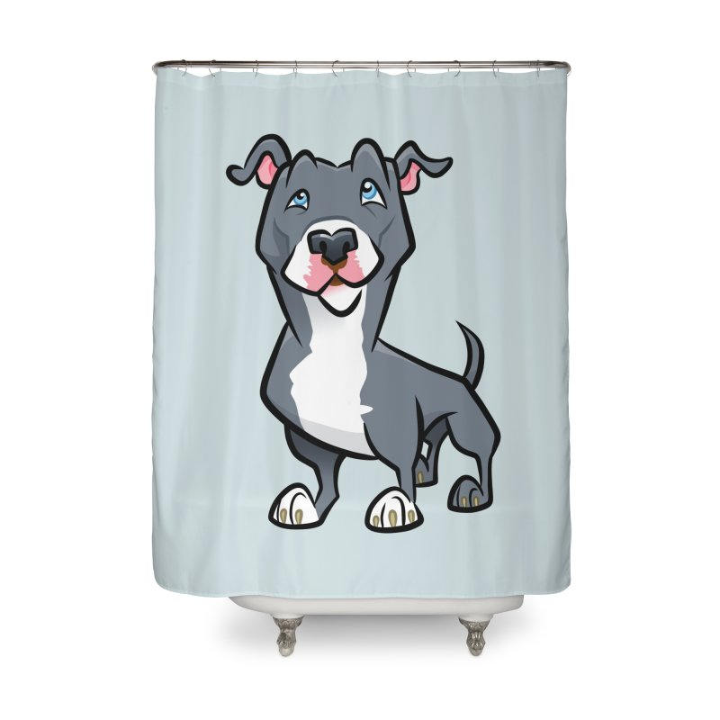 Blue Pit Bull Home Shower Curtain by binarygod's Artist Shop