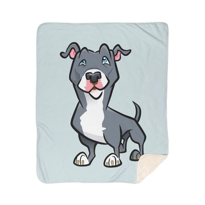 Blue Pit Bull Home Sherpa Blanket Blanket by binarygod's Artist Shop