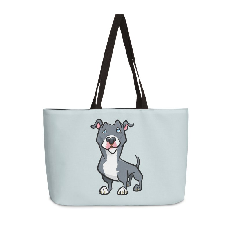 Blue Pit Bull Accessories Weekender Bag Bag by binarygod's Artist Shop