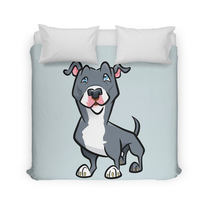 Blue Pit Bull Home Duvet by binarygod's Artist Shop