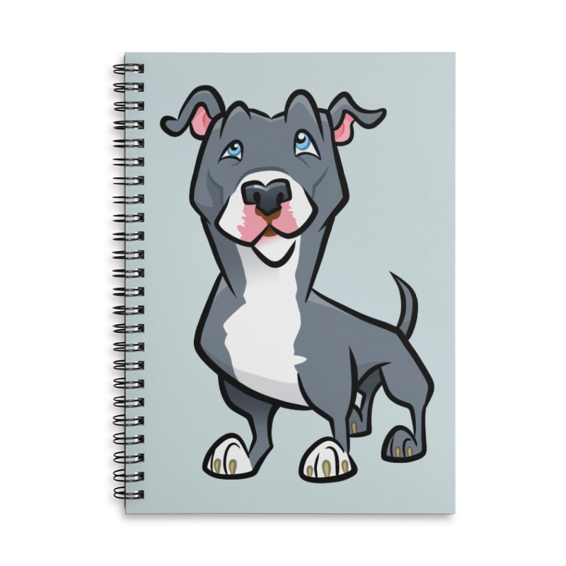 Blue Pit Bull Accessories Lined Spiral Notebook by binarygod's Artist Shop