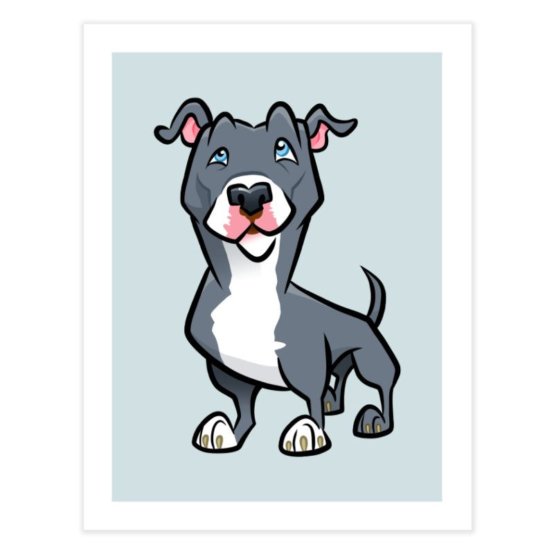 Blue Pit Bull Home Fine Art Print by binarygod's Artist Shop