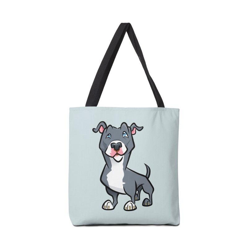 Blue Pit Bull Accessories Tote Bag Bag by binarygod's Artist Shop