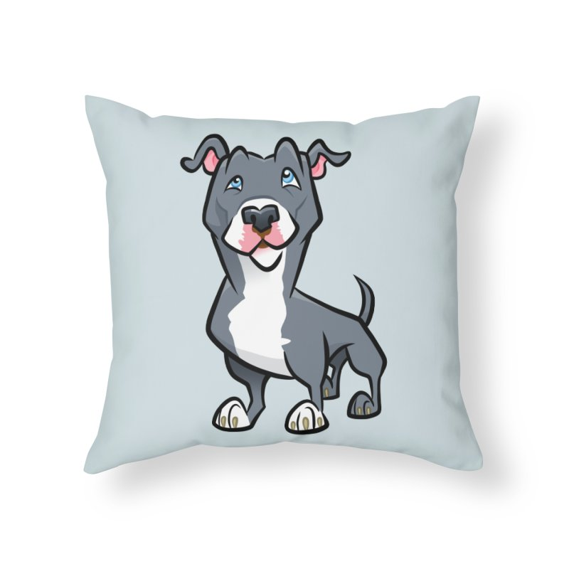 Blue Pit Bull Home Throw Pillow by binarygod's Artist Shop