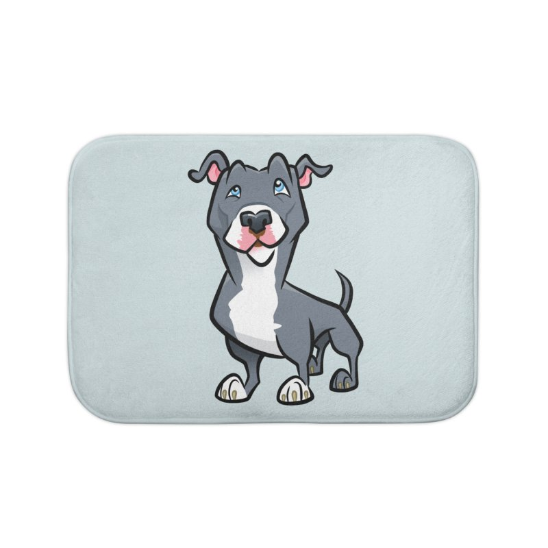 Blue Pit Bull Home Bath Mat by binarygod's Artist Shop