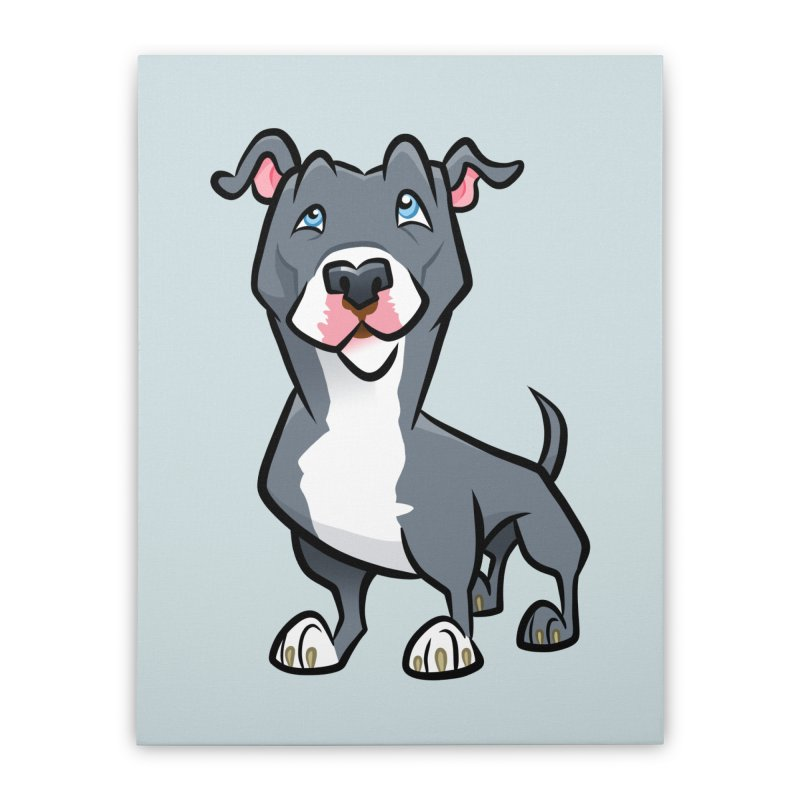 Blue Pit Bull Home Stretched Canvas by binarygod's Artist Shop