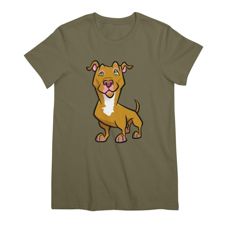 Red Pit Bull Women's Premium T-Shirt by binarygod's Artist Shop