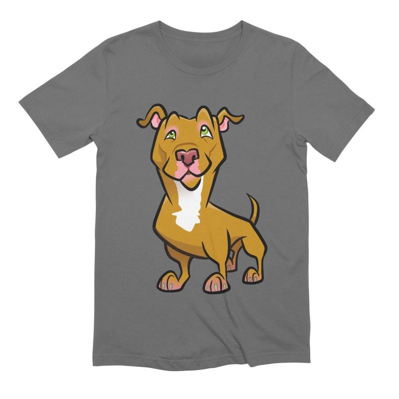 Red Pit Bull Men's T-Shirt by binarygod's Artist Shop