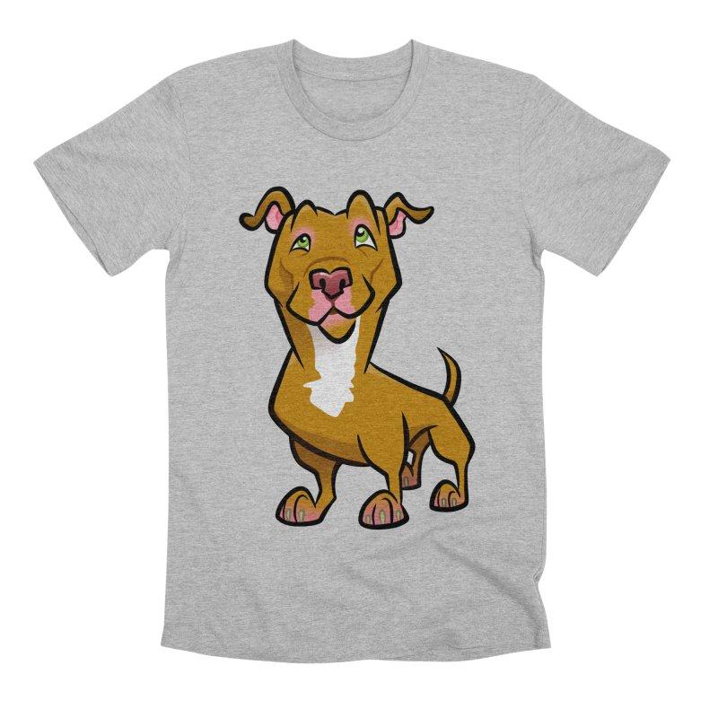 Red Pit Bull Men's Premium T-Shirt by binarygod's Artist Shop