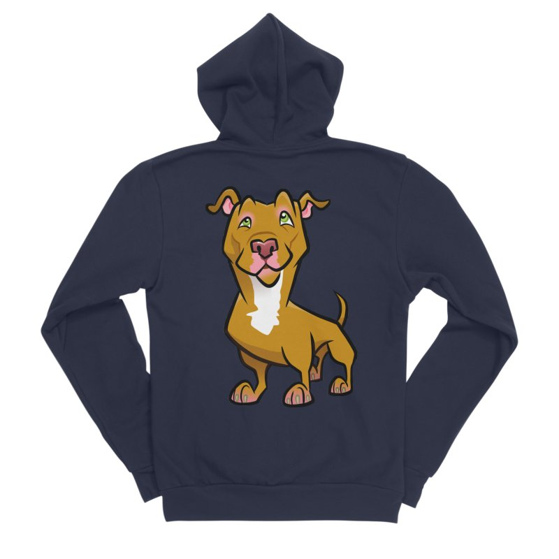 Red Pit Bull Women's Sponge Fleece Zip-Up Hoody by binarygod's Artist Shop