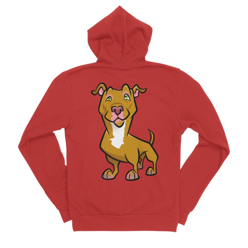 Red Pit Bull Men's Sponge Fleece Zip-Up Hoody by binarygod's Artist Shop