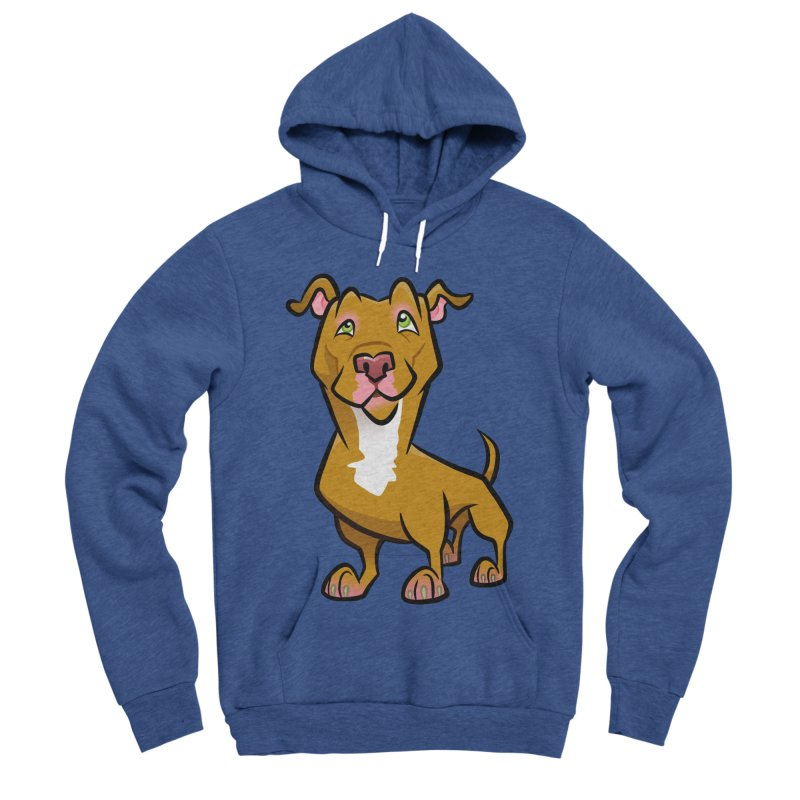 Red Pit Bull Men's Sponge Fleece Pullover Hoody by binarygod's Artist Shop