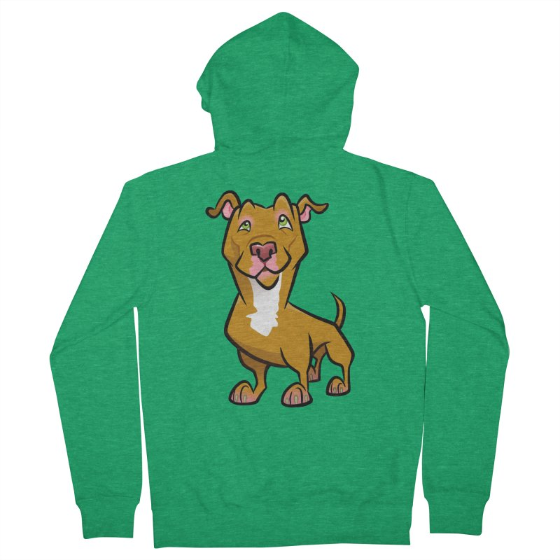 Red Pit Bull Men's Zip-Up Hoody by binarygod's Artist Shop