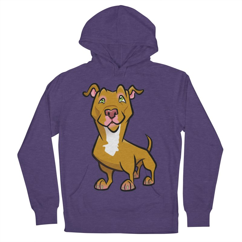 Red Pit Bull Men's French Terry Pullover Hoody by binarygod's Artist Shop
