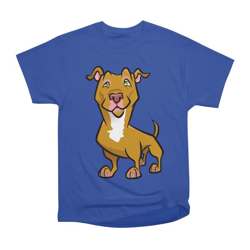 Red Pit Bull Women's Heavyweight Unisex T-Shirt by binarygod's Artist Shop