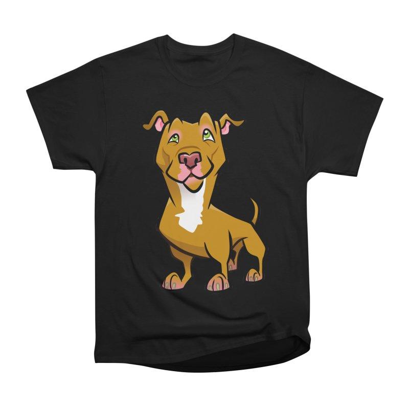 Red Pit Bull Women's Heavyweight Unisex T-Shirt by binarygod's Artist Shop