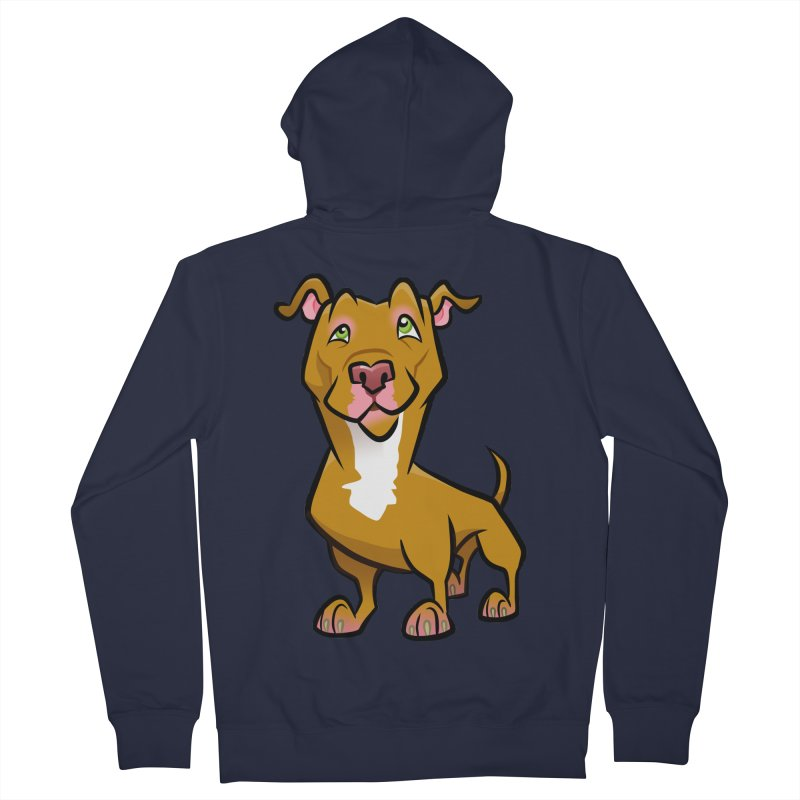 Red Pit Bull Women's French Terry Zip-Up Hoody by binarygod's Artist Shop