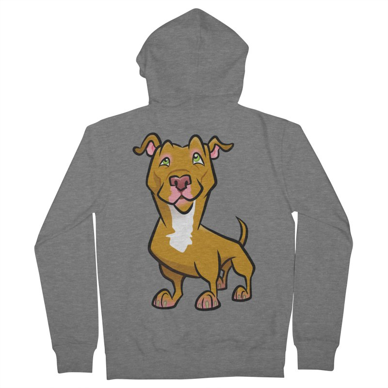 Red Pit Bull Men's French Terry Zip-Up Hoody by binarygod's Artist Shop