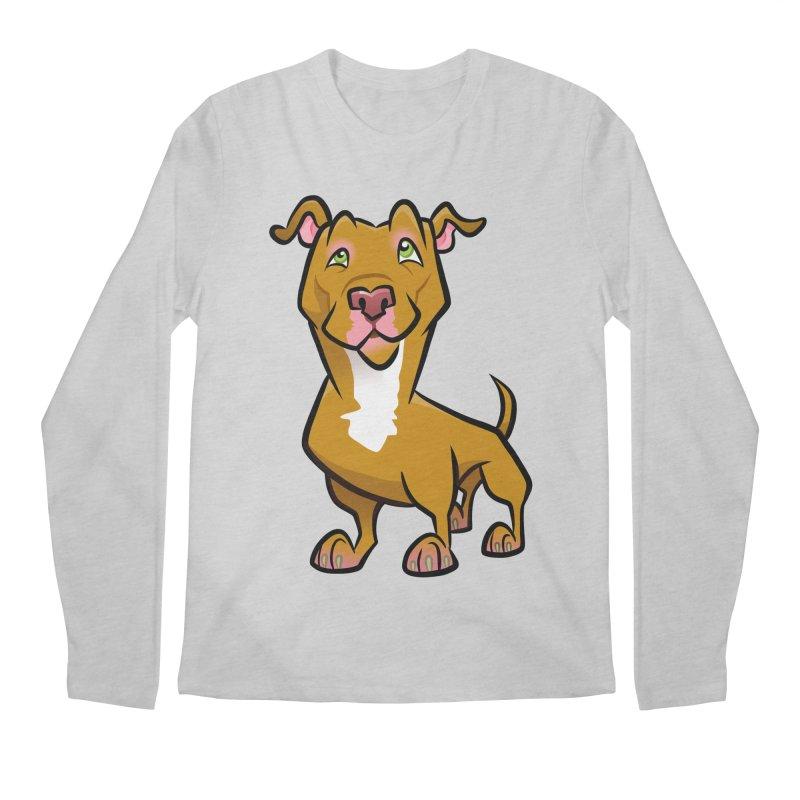 Red Pit Bull Men's Regular Longsleeve T-Shirt by binarygod's Artist Shop
