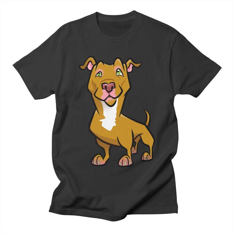 Red Pit Bull Men's Regular T-Shirt by binarygod's Artist Shop