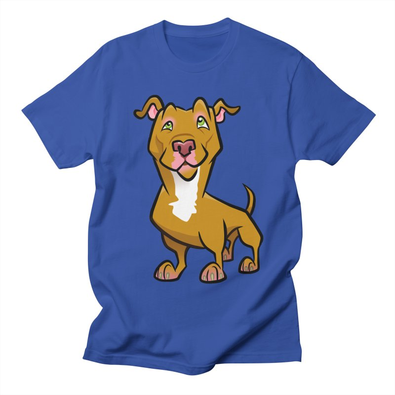 Red Pit Bull Men's Regular T-Shirt by binarygod's Artist Shop