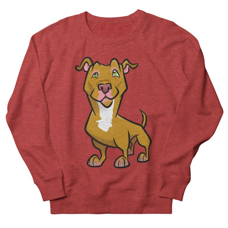 Red Pit Bull Men's French Terry Sweatshirt by binarygod's Artist Shop