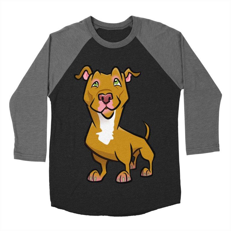 Red Pit Bull Women's Baseball Triblend Longsleeve T-Shirt by binarygod's Artist Shop