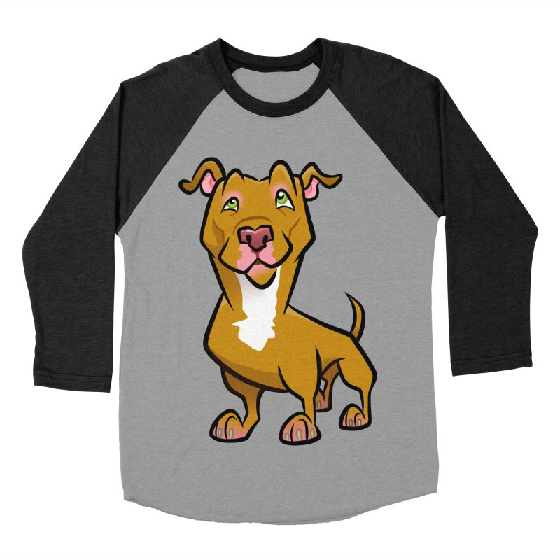 Red Pit Bull Men's Baseball Triblend Longsleeve T-Shirt by binarygod's Artist Shop