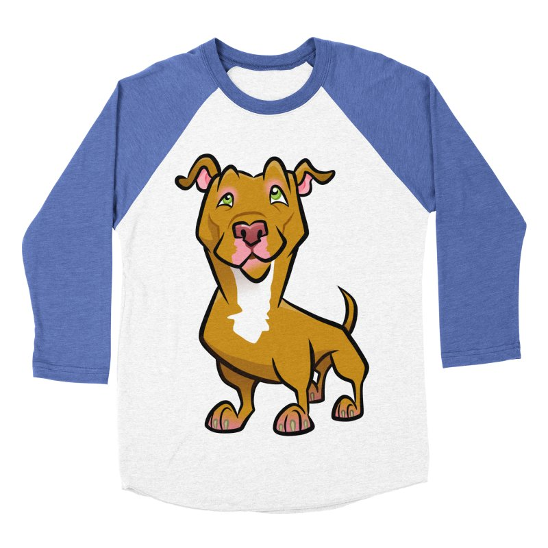 Red Pit Bull Men's Baseball Triblend Longsleeve T-Shirt by binarygod's Artist Shop