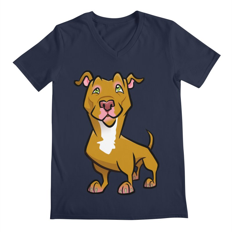 Red Pit Bull Men's Regular V-Neck by binarygod's Artist Shop