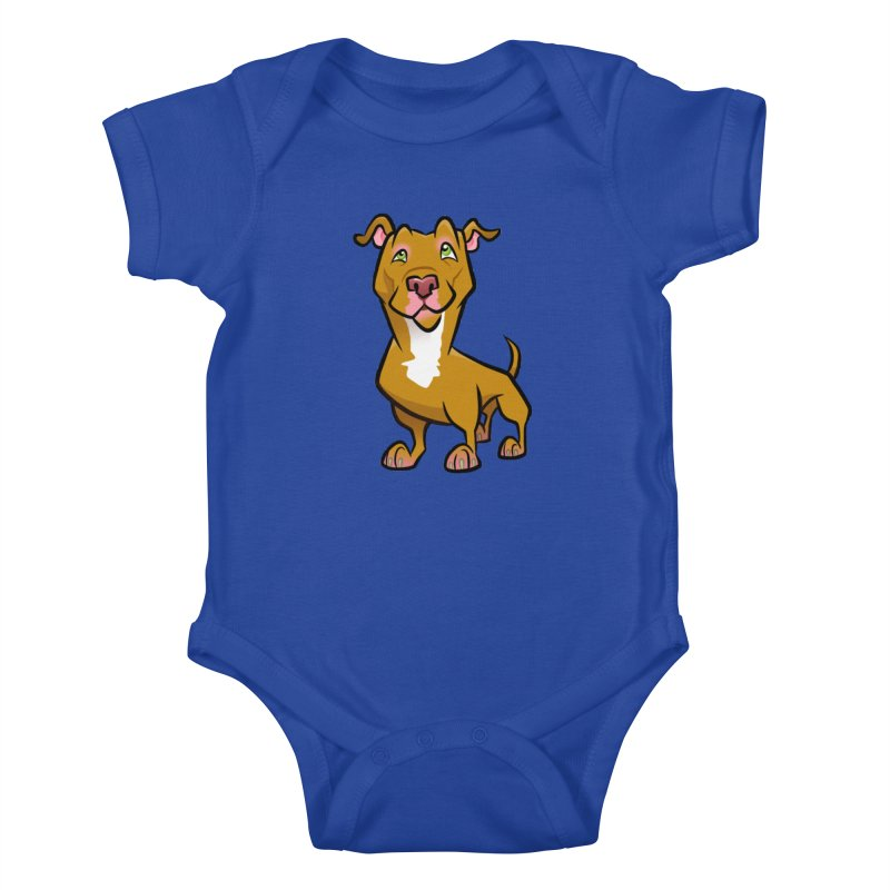 Red Pit Bull Kids Baby Bodysuit by binarygod's Artist Shop
