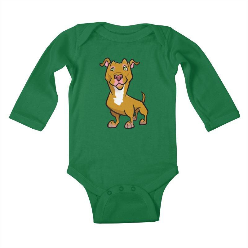 Red Pit Bull Kids Baby Longsleeve Bodysuit by binarygod's Artist Shop