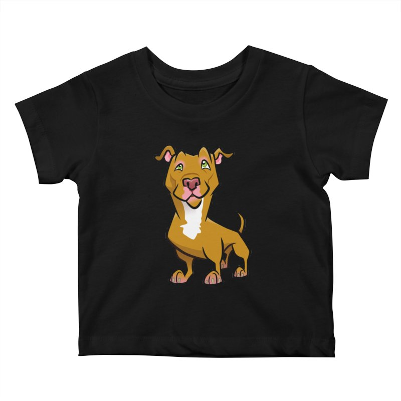 Red Pit Bull Kids Baby T-Shirt by binarygod's Artist Shop
