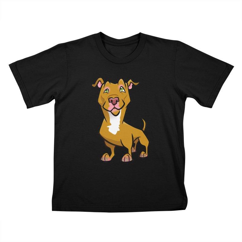 Red Pit Bull Kids T-Shirt by binarygod's Artist Shop