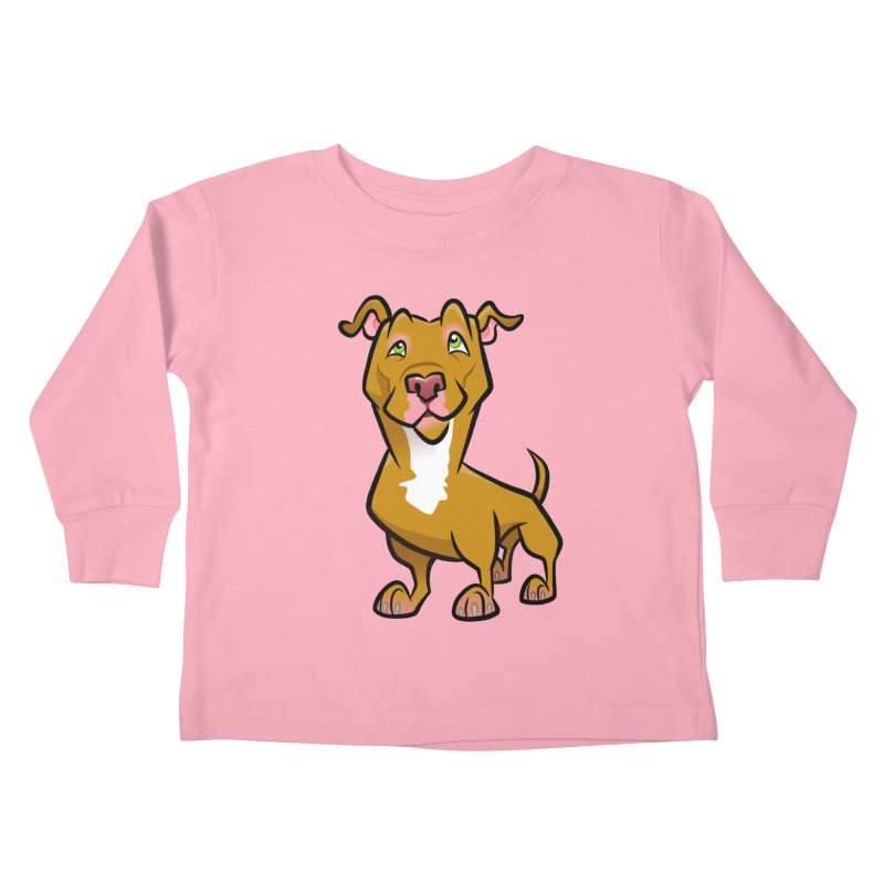 Red Pit Bull Kids Toddler Longsleeve T-Shirt by binarygod's Artist Shop