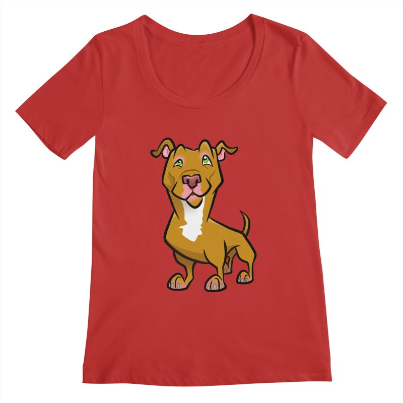 Red Pit Bull Women's Regular Scoop Neck by binarygod's Artist Shop