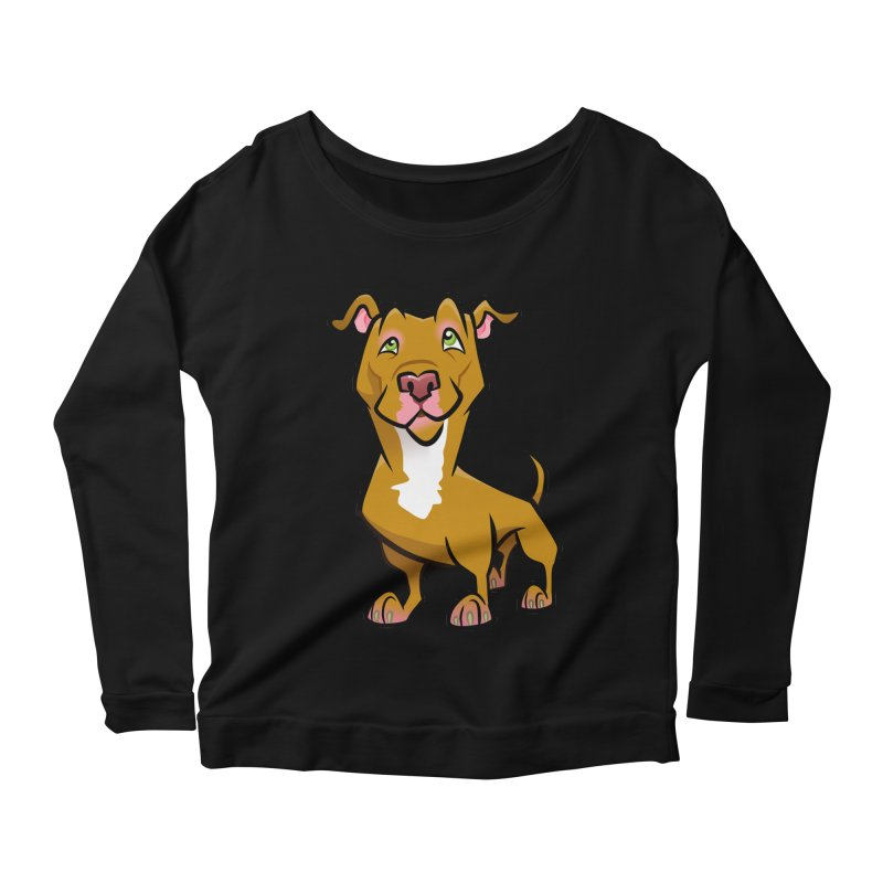 Red Pit Bull Women's Scoop Neck Longsleeve T-Shirt by binarygod's Artist Shop