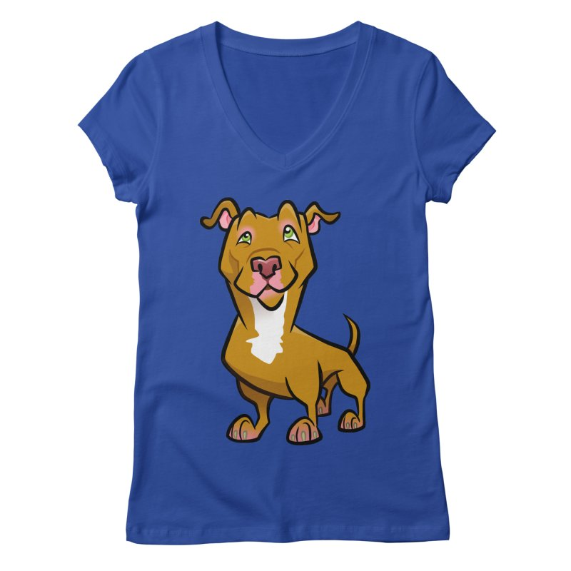 Red Pit Bull Women's Regular V-Neck by binarygod's Artist Shop
