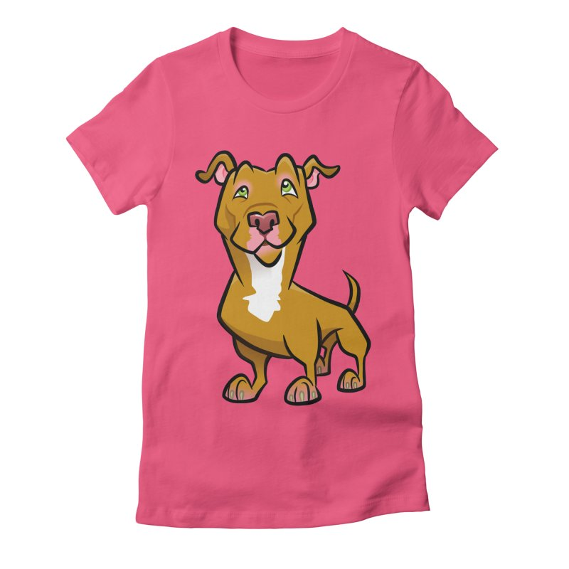 Red Pit Bull Women's Fitted T-Shirt by binarygod's Artist Shop
