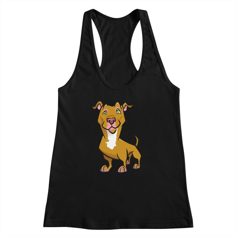 Red Pit Bull Women's Racerback Tank by binarygod's Artist Shop