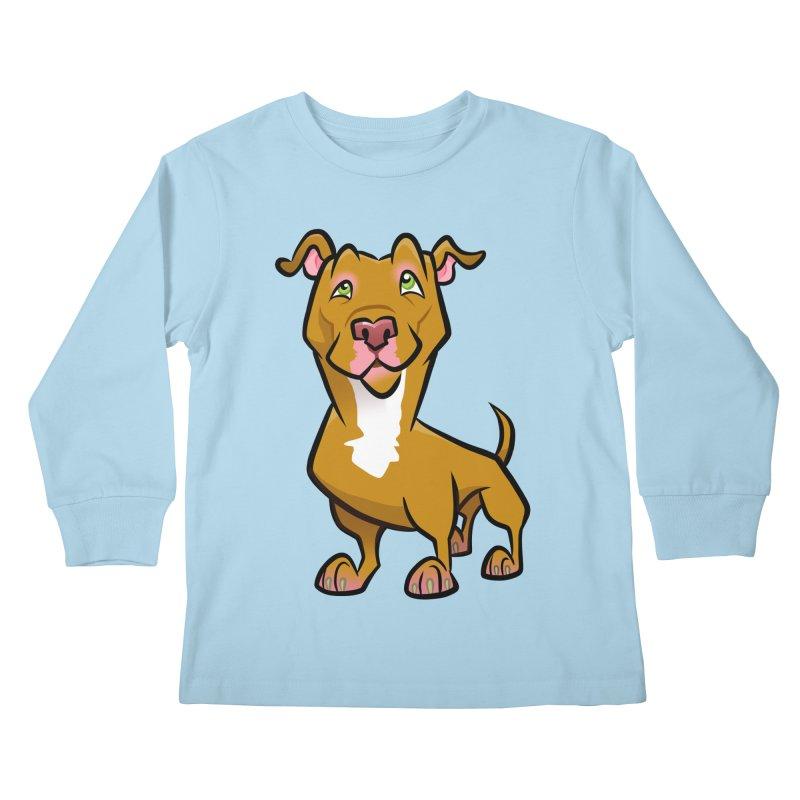 Red Pit Bull Kids Longsleeve T-Shirt by binarygod's Artist Shop