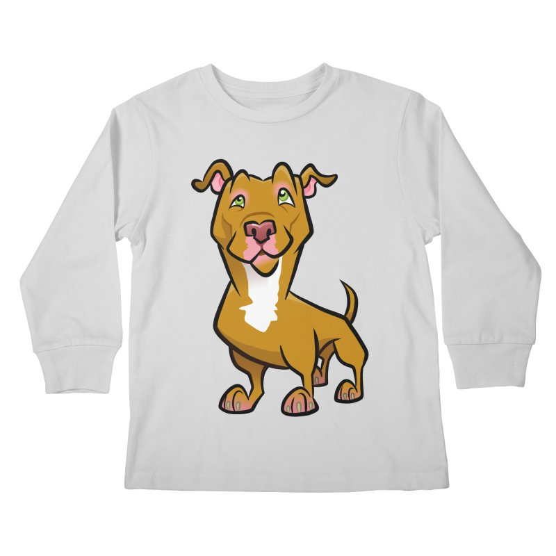 Red Pit Bull Kids Longsleeve T-Shirt by binarygod's Artist Shop