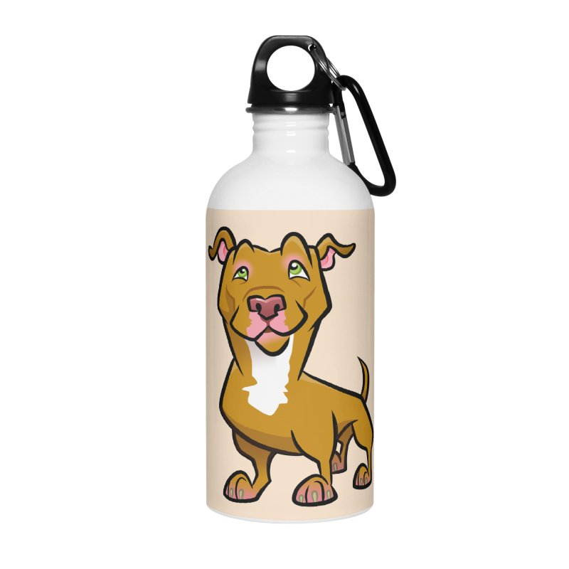 Red Pit Bull Accessories Water Bottle by binarygod's Artist Shop