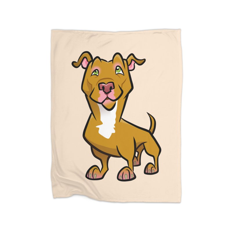 Red Pit Bull Home Fleece Blanket Blanket by binarygod's Artist Shop