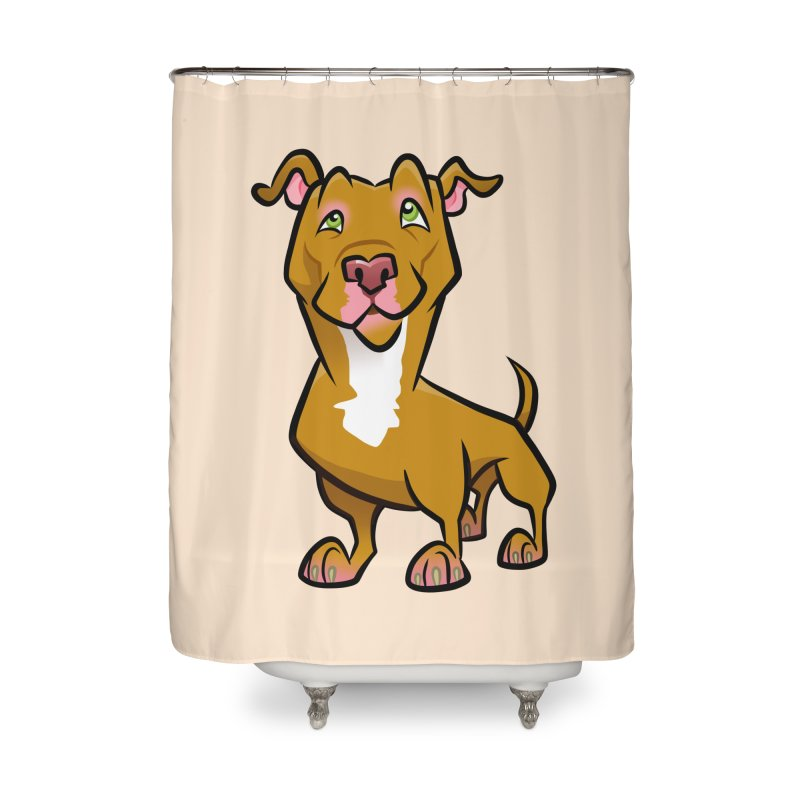 Red Pit Bull Home Shower Curtain by binarygod's Artist Shop